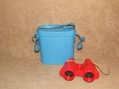 Childrens Non Prismatic Binoculars - Red In Blue Case - Made In Italy - Vintage
