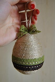 twine wound egg w lace trim