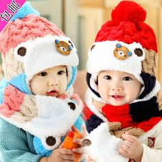 >> Click to Buy << Twinset Lovely Bear Warm Hat & Scarf Set Winter Knitted Crochet Hats Bibs Baby Boys Girls Fashion Beanie Children products #Affiliate
