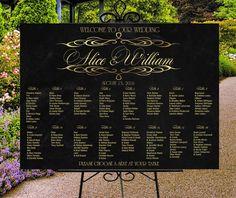 SALEWedding seating chart printable black by PrintableMemoriesCo