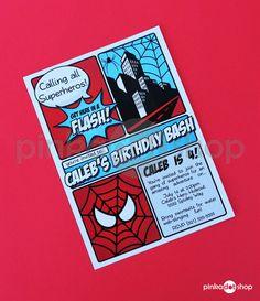 Superhero Collection Spiderman Invitation DIY by pinkadotshop, $10.00