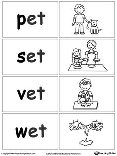 Sort and match words with this ET Word Family printable worksheet. Phonics Words, Phonics Worksheets, Cvc Words, Phonics Reading, Kindergarten Reading, Reading Comprehension, Word Families, 3 Letter Words, Letter Sounds