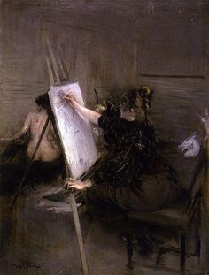 Pittori Italiani (A-Z da Completare) nati nel 1750... nel 1888., Boldini Giovanni ( Ferrara 1842 - Parigi 1931) - La pittrice Ruth Sterling nel Suo studio on ArtStack #pittori-italiani-a-z-da-completare-nati-nel-1750-nel-1888 #art