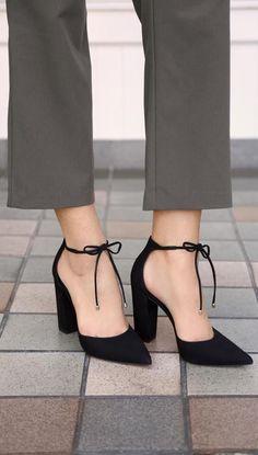 2ac655308af Black Heels Pump for Women.Steve Maddern pampered black nubuck leather  block heels pumps.