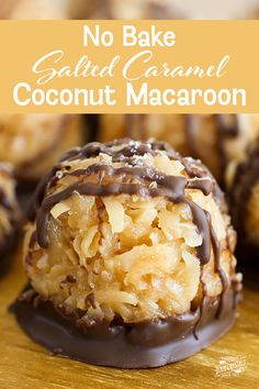 No-Bake Salted Caramel Coconut Macaroons-These sweet treats are so very easy that they may just become your go-to when you need something fast. Sweet gets stirred into gooey bake cake bake cookies Cookie Desserts, Just Desserts, Delicious Desserts, Baking Cookies, Fast And Easy Desserts, Baking Snacks, Easy Treats To Make, Fast Dessert Recipes, Easy Sweets