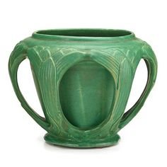 """William Percival Jervis (1849-1925) - Jervis Pottery (1908-1912) - Six-Handled Jardiniere. Matte-Glazed Pottery. Oyster Bay, New York. Circa 1908. 8-1/2"""" x 11""""."""