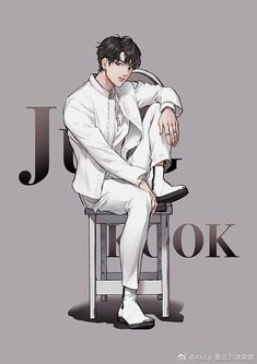 Jungkook is so oversized that he had no choice but to lift one leg to sit in chair Jungkook Fanart, Fanart Bts, Kookie Bts, Bts Bangtan Boy, Namjoon, Bts Chibi, Bts Anime, K Wallpaper, Fanarts Anime