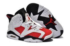 new product 96fcf 64425 Michael Kids Jordan 6 VI Sports Shoes In White  amp  Carmine Black Design  Nike