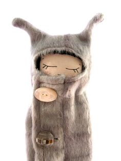 gorgeous soft grey mohair Fur coat Girl with vintage tortoise shell button detail, cloth doll on Etsy, $60.85