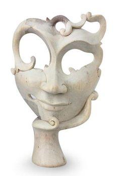 Máscara del hibisco de madera talladas a mano en Indonesia - que le esperaban   NOVICA