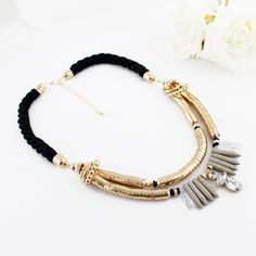 Gold Bead Diamond Tassel Necklace//