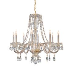 Crystorama C5048PBCLMWP Traditional Crystal Mid Sized Chandelier Chandelier - Polished Brass