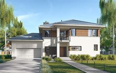 Projekt domu piętrowego E-220 o pow. 158,9 m2 z obszernym garażem, z dachem wielospadowym, z tarasem, sprawdź! Modern House Design, Home Fashion, House Plans, Mansions, Inspiration, House Styles, Home Decor, Home, Projects