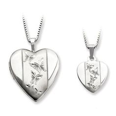 Sterling Silver Butterfly Heart Locket And Chain Set