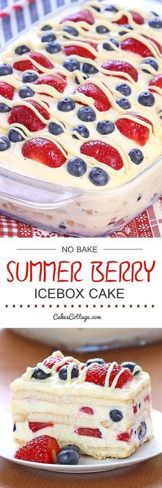 Looking for a quick and easy Summer dessert recipe? Try out delicious No Bake Summer Berry Icebox Cake ! Ingredients :)
