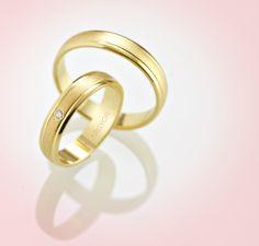 Pareja de alianzas de boda en oro amarillo modelo Argyor 5140044 y 5140044D (con diamante).