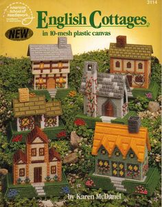 USED ENGLISH COTTAGES IN 10 MESH HOUSES PLASTIC CANVAS PATTERN BOOK / LEAFLET  #AMERICANSCHOOLOFNEEDLEWORK