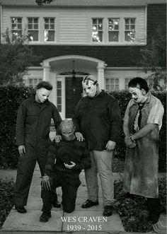 In remembrance of Wes Craven 1939 - 2015. (Michael Myers, Freddy Krueger, Jason Voorhees, Leatherface) #wescraven #freddykrueger #masterofhorror #horror #anightmareonelmst #scream #rip #dead #director #producer #halloween