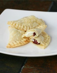 Tart Cherry Mini Pockets with Goat Cheese @ Food Babbles Dairy Free Appetizers, Easy Appetizer Recipes, Yummy Appetizers, Snack Recipes, Snacks, Empanadas, Tart Cherry Pies, Paleo Donut, Goat Cheese