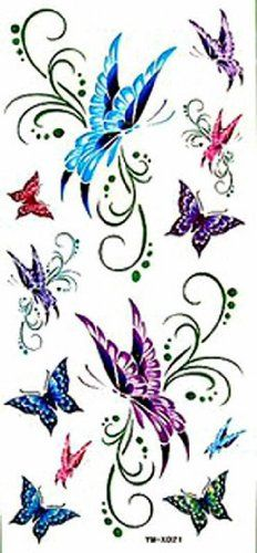 "Tattoo size 7.28""x3.54"" long last and non toxic realistic temporary tattoo sticker butterflies dancing sexy fake temp tattoos. Safe and non-toxic design ideal for body art. Professional grade made to last 3 to 5 days and easily transferred by water. Perfect for vacations, girls night, pool parties, bachelorette parties, or any other event you want to look glamorous."