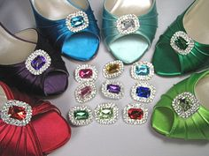 Bling Shoe Clips in Brilliant Colors - Rhinestone Crystal Shoe Clips - Red, Green, Purple, Yellow, Blue, Turquoise, Pink Shoe Clips. $24.95, via Etsy.