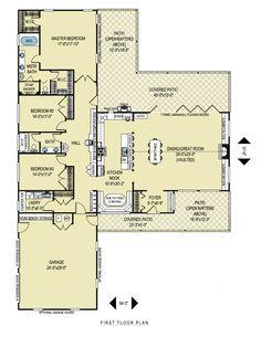 Inspiring L Shaped House Plans With 2 Car Garage Ideas - Best inspiration home design - eumolp. House Plans One Story, New House Plans, Dream House Plans, Small House Plans, Square House Floor Plans, Rectangle House Plans, Simple Ranch House Plans, Simple Floor Plans, The Plan