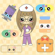 Kawaii Doctor Clipart - Cute Nurse, Medical Clip Art, Digital Stickers, Planner, Pharmacy, Hospital, Fun Free Commercial and Personal Use