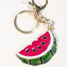 Watermelon Fruit Crystal Diamante Rhinestone Bag Charms Handbag Keyrings Pendant Key Chain