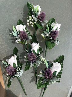 Wedding Flowers 6 x Purple Rose Buttonhole Berries /& Gyp matches Purple Bouquet