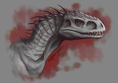 Indominus Rex sketch by NigthmareWolf Blue Jurassic World, Jurassic World Fallen Kingdom, Dinosaur Drawing, Dinosaur Art, Mythical Creatures Art, Prehistoric Creatures, Animal Sketches, Animal Drawings, Jurassic World Wallpaper