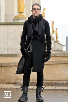 Ah, this is what I got on Pinterest for, today. Scarves. This one is interesting. The gloves seem a little creepy, and he half looks like he came out of the movie SnowPiercer with the extravagant straps on his boots. It's an interesting look. #Menswear