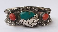 Vintage-Old-Pawn-Blue-Turquoise-amp-Red-Coral-Sterling-Silver-Leaf-Cuff-Bracelet
