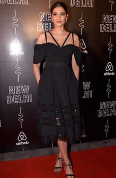 Sonam Kapoor in this black midi dress db5324309
