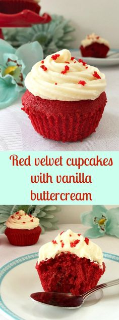 Red velvet cupcakes with vanilla buttercream, a rich and luxurious dessert for those special days like birthdays, Christmas, Valentine's Day and so on.