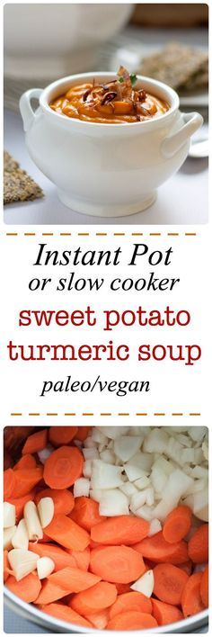 Comfort food! This Sweet Potato Turmeric soup is a sweet and spicy with a tiny kick from the turmeric. Paleo and Vegan. Slow Cooker Sweet Potato Turmeric Soup http://www.flavourandsavour.com/slow-cooker-sweet-potato-turmeric-soup/