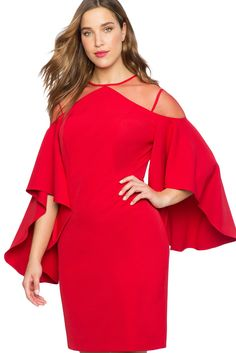 cda88e1168b Red Mesh Illusion Cold Shoulder Plus Size Dress