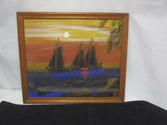 Painting on Silk Ships Chinese Japanese Sunset Boats Signed Asian Oriental | eBay