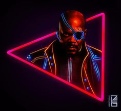Nick Fury:Marvel Neon Potraits Painting
