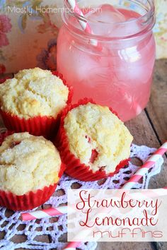 Strawberry Lemonade Muffins - These sweet muffins are loaded with chopped fresh strawberries and flavored with lemon juice and lemon zest. A perfect breakfast to welcome spring!
