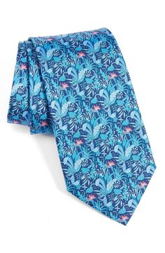 Can You Wear A Tie Without Looking Like A Scene Kid? - $190 Salvatore Ferragamo Light And Dark Blue Floral Flower Leaf Print Tie
