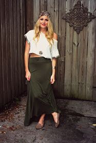 Crop top maxi skirt head scarf studded loafers