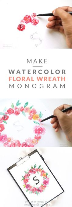 Learn how to create a watercolor floral wreath monogram in this tutorial by Zakkiya Hamza of Inkstruck Studio for Dawn Nicole designs Learn Watercolor Painting, Watercolor Canvas, Watercolor Projects, Watercolor Ideas, Watercolor Tutorials, Watercolor Design, Watercolor Flowers Tutorial, Watercolor Flower Wreath, Floral Watercolor