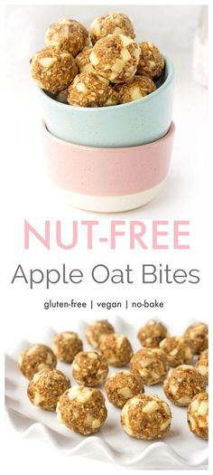 These nut-free no-bake apple oat energy bites taste like apple pie but are loaded with nutrients and contain no added sugar! Make up a batch ahead of time for a quick and easy snack on the go! Easy Snacks, Easy Desserts, Healthy Snacks, Easy Meals, Healthy Recipes, Healthy Dinners, Vegetarian Recipes, Snack Recipes, Dessert Recipes