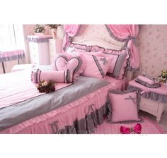 New Pink Gray Girls Lace Ruffled Floral Bowtie Bedding-Girls Bedding-Lace Bedding Pink Bedrooms, Bedroom Sets, Dream Bedroom, Girls Bedding Sets, Bedroom Decor For Teen Girls, Girl Bedroom Designs, Home Decor Bedroom, Ruffle Bedspread, Lace Bedding