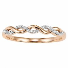 10K Rose Gold 1/10cttw Diamond Crossover Stackable Ring