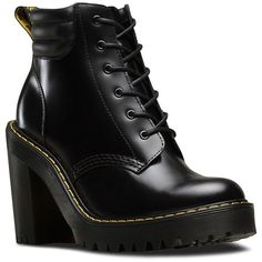 Dr. Martens Persephone Ankle Boots (210 CAD) ❤ liked on Polyvore featuring shoes, boots, ankle booties, black, leather lace up boots, black boots, short black boots, platform ankle boots and lace up platform booties