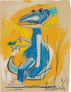 Jean-Michel Basquiat, Untitled (Dinosaur) , 1982 (sold at Phillips London 2-12-2015 for aprox $361,000)