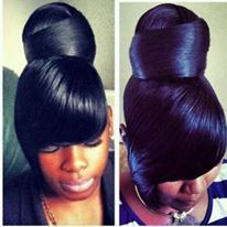 Check Out Our , Pony with Side Swept Bangs Dope I Would Probably Bun It Up Really, Lovely Weave Ponytail Hairstyles with Bangs, Lovely Weave Ponytail Hairstyles with Bangs. My Hairstyle, Ponytail Hairstyles, Weave Hairstyles, Updos, Hair Ponytail, Bun Updo, Wedding Hairstyle, Hairstyle Ideas, Ponytail Styles