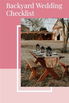 Planning a backyard wedding, but not sure what you'll need? Here's a simple checklist for your backyard wedding reception, backyard wedding ceremony, backyard wedding decoration, backyard wedding ideas on a budget, backyard wedding lighting, backyard wedding small, backyard wedding cheap, backyard wedding rustic, backyard wedding DIY, backyard wedding simple, backyard wedding reception tent, backyard wedding bar, backyard wedding elegant, backyard wedding set up, backyard wedding food.<br> Cheap Backyard Wedding, Wedding Reception On A Budget, Backyard Wedding Dresses, Backyard Wedding Decorations, Backyard Wedding Lighting, Wedding Ceremony, Rustic Backyard, Rustic Wedding Colors, Rustic Wedding Backdrops