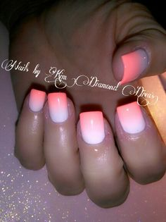 Coral and white ombre nails